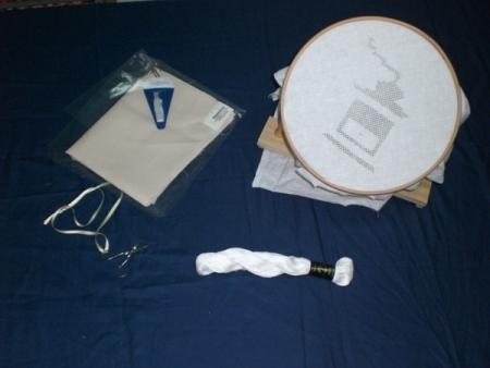 Telaio artigianale cm 20, forbicine per sfilare,filo Ancora, lino colorato per strofinacci